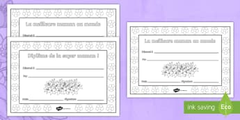 Feuilles de coloriage : Diplômes de la fête des mères - diplômes de la fête des mères, cartes, mères, maman, fête, coloriage, activité, 28 mai, motric