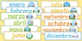 Pack de pancartas - Los meses del año - año, calendario, decoración, enero, febrero, marzo, abril, mayo, junio, julio, agosto, septiembre, setiembre, octubre, noviembre, diciembre