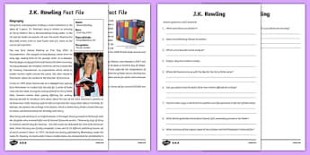 J.K. Rowling Differentiated Reading Comprehension Activity