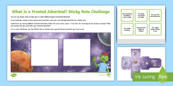 What Is a Fronted Adverbial?: Sticky Note Challenge Activity - what is a fronted adverbial?, fronted adverbial, adverbials, ISPACE, openers, commas, fronted, subor
