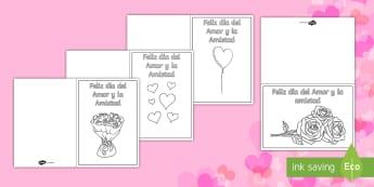 Tarjetas para colorear: Día de San Valentín / Día del Amor y la Amistad - Plantillas de tarjetas para colorear del Día de San Valentín o Dia del Amor y la Amistad, amor, ta
