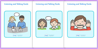 Listening and Talking Cards - Good listening, listen, flascard, cards, behaviour management, SEN, good sitting, good listening, good looking, lips closed, listening, brain box