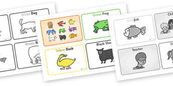 Story Sequencing (4 per A4) to Support Teaching on Brown Bear, Brown Bear - Brown Bear, Brown Bear, Bill Martin,  red bird, yellow duck, blue horse, green frog, purple cat, colours, animals, animal names, story, story book, story book resources, stor