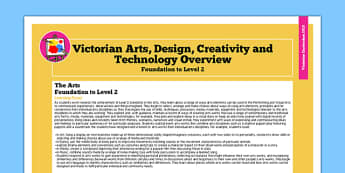 AusVELs Victorian Curriculum Foundation to Level 2 The Arts and Design Overview - australia