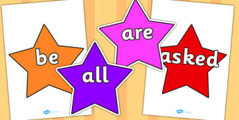 Tricky Words on Stars (Multicolour) - Tricky words, DfES Letters and Sounds, Letters and sounds, display, words