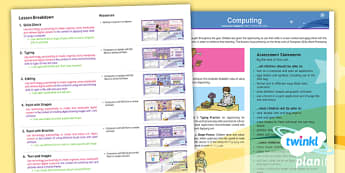 PlanIt - Computing Year 1 - Using and Applying Planning Overview - Using and Applying, computing, painting, typing, computer skills, PlanIt, computer, IT, ICT, year 1,