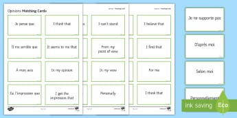 Opinion Phrases Matching Cards French  - KS3, KS4, French, Opinions, cards, match, pairs, avis,French