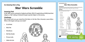 Star Wars Scramble Activity Sheet, worksheet