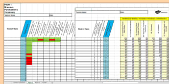 Y6 Grammar, Punctuation and Spelling Analysis Grid for KS2 SAT 2016 Past Paper Assessment Spreadsheet - SATs Survival Materials Year 6, SATs, assessment, 2017, English, SPaG, GPS, grammar, punctuation, sp