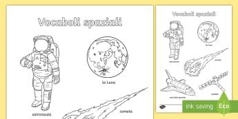 Parole spaziali Fogli da colorare - colora, colorare, pianeti, sistema, solare, spazio,, vocaboli, nomi, italiano, italian, materiale, s