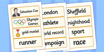 Sebastian Coe Word Cards - sebastian coe, word cards, topic cards, themed word cards, themed topic cards, key words, key word cards, keyword, writing aid
