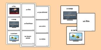 Les émissions de télé Jeu de cartes - french, tv programmes, matching cards, match, cards