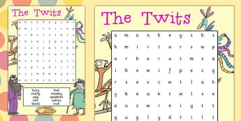 Word Search to Support Teaching on The Twits - wordsearch, the twits, roald dahl, book