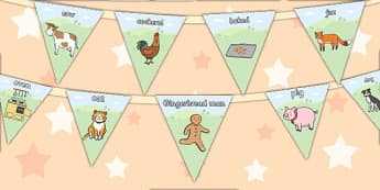The Gingerbread Man Bunting - bunting, display, gingerbread man