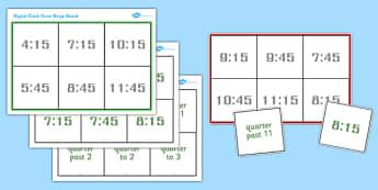 Digital Clock Time Bingo - Time bingo, digital, bingo, time game, Time resource, Time vocaulary, clock face, Oclock, half past, quarter past, quarter to, shapes spaces measures