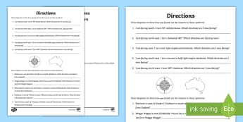 Directions Activity Sheet - maths, mathematics, numeracy, compass points, location, direction, problem solving,Australia