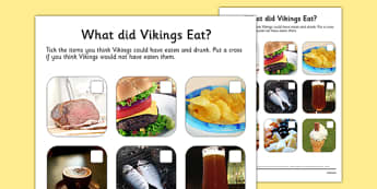 What Did Vikings Eat Photo Worksheet - vikings, what did vikings eat?, what vikings ate, viking food worksheet, viking food photo worksheet, ks2 history
