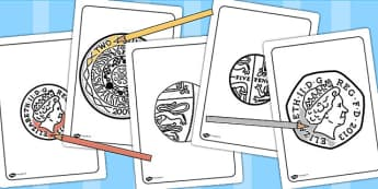 New British (UK)Coins Colouring Sheets - money, numeracy, colour,