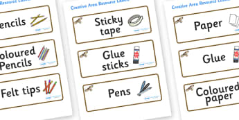 Buzzard Themed Editable Creative Area Resource Labels - Themed creative resource labels, Label template, Resource Label, Name Labels, Editable Labels, Drawer Labels, KS1 Labels, Foundation Labels, Foundation Stage Labels