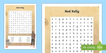 Ned Kelly Word Search - Bushrangers, Ned Kelly, Kelly Gang, Australian History, outlaw, outlaws, criminal,Australia