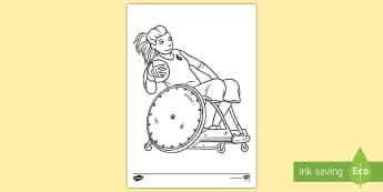 Invictus Games Wheelchair Rugby Colouring Page - paralympics, sports, topic, news, current affairs, events, commonwealth