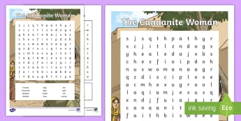 The Canaanite Woman Word Search - RE, Reconciliation,Jesus, bible, story, christianity