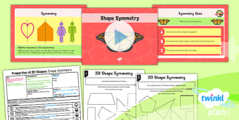 PlanIt Y4 Properties of Shape Lesson Pack Symmetry in 2D Shapes - Properties of Shapes, symmetry, 2D shapes