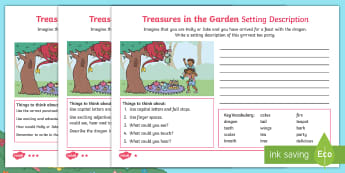 Treasures in the Garden Dragon Setting Description Differentiated Activity Sheets - setting, describe, scales, writing, tea party, adjectives, fantasy