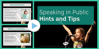 Public Speaking Hints and Tips PowerPoint - public, speaking, hints, tips