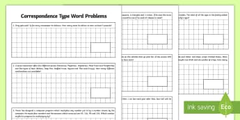 Correspondence Type Word Problems - beginning algebra, relationships