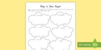 Respect Activity Sheet - New Zealand Back to School, class culture, respect, values, key competencies, back to school, class