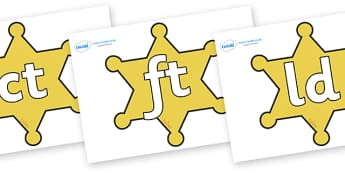 Final Letter Blends on Sheriffs Badges - Final Letters, final letter, letter blend, letter blends, consonant, consonants, digraph, trigraph, literacy, alphabet, letters, foundation stage literacy