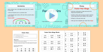 Year 4 Factor Pairs PowerPoint Task Setter with Bingo Activity - factor pair, year 4 maths, year four maths, powerpoint, task setter, bingo, activity, game