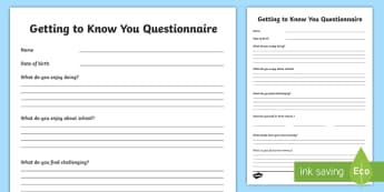 Getting to Know You Questionnaire Activity Sheet - ROI Back to School Resources, all about me, getting to know you, back to school, questionnaire, engl