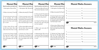 Mental Maths Adding Worksheets - maths worksheet, mental maths worksheet, maths problems, sums to do in your head, ks2 maths problems, ks2 maths questions