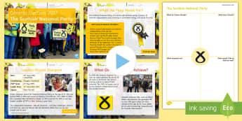 The Scottish National Party Information PowerPoint Pack - Nicola Sturgeon, manifesto, history, politics, vote, prime minister, member of parliament, Scottish