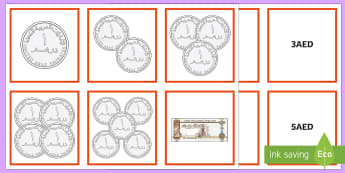 UAE Maths Resources 1AED - 10AED Matching Cards - UAE Maths Resources