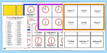 Half Past and O'Clock Times Bingo Arabic Translation - arabic, Time bingo, time game, Time resource, Time vocaulary, clock face, Oclock, half past, quarter past, quarter to, shapes spaces measures