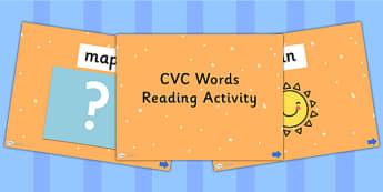 CVC Words Reading PowerPoint Activity - read, CVC, books, reading