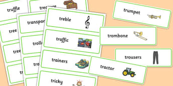 Two Syllable TR Word Cards - two syllable, tr, word cards, word, cards