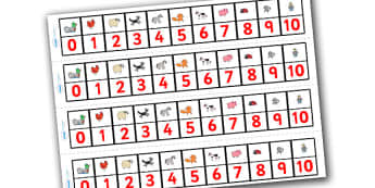 Number Track 0-10 to Support Teaching on What the Ladybird Heard - what the ladybird heard, number track, 0-10, 0-10 number line, number line, number strips, themed number line