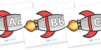 A-Z Alphabet on Rockets - Rocket, topic, space, Alphabet frieze, Display letters, Letter posters, A-Z letters, Alphabet flashcards, moon, stars, planet, planets