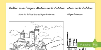 Ritter und Burgen Malen nach Zahlen - Castles And Knights Colour by Numbers - colouring, counting , numbes, colering, nigt, countng, couti