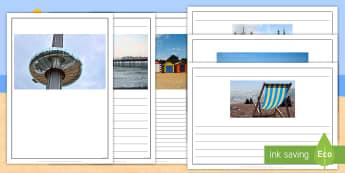 Brighton's Landmarks Writing Frames  -  Seaside, South, Sea, Coast, Beach, Bucket and Spade, Britain, Brighton, Hove, Brighton and Hove, Pi