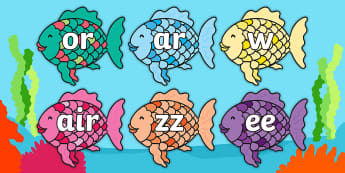 Phase 3 Phonemes on Rainbow Fish to Support Teaching on The Rainbow Fish - Phonemes, phoneme, Phase 3, Phase three, Foundation, Literacy, Letters and Sounds, DfES, display