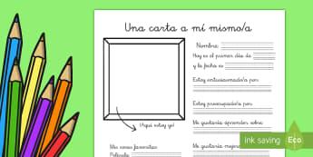Ficha de actividad: Una carta a mí mismo - una carta a mí mismo, escritura, carta, letras, todo sobre mí, yo mismo, yo, ,Spanish