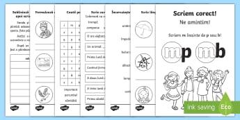 Scriem corect mp/mb Broșură cu activități - scriere corectă, ortografie, mp, mb, limba română, joc, carte, broșură, exerciții, activităț