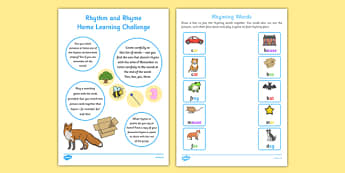 Rhythm and Rhyme Home Learning Challenge FS1 - EYFS planning, Early years activities, homework activities, phonics, Letters and Sounds, Phase 1, Aspect 4, listening skills