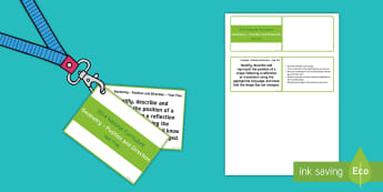 Lanyard Sized Year Five Position and Direction Objectives Cards - year 5, y5, year five, translated shape, translation of shapes, coordinates, reflection of shapes, r