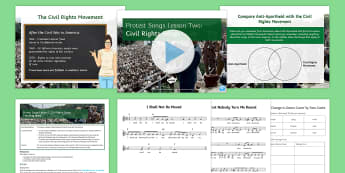 Protest Songs Lesson 2: Civil Rights Songs Lesson Pack - performance, listening activity, blacks, civil rights movement, martin luther king, Billie Holiday,